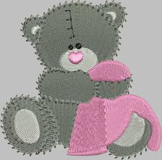 Daia's designs: Embroidery designs Embroidery Designs, Crochet Hats, Teddy Bear, Animals, Knitting Hats, Animales, Animaux, Teddybear, Animais