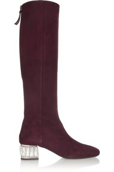 Miu Miu|Crystal-embellished suede knee boots|NET-A-PORTER.COM