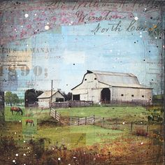 "Sweet Blows the Wind - 24"" x 24"" original mixed media farm painting"