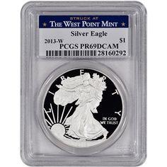 2013-W American Silver Eagle Proof - PCGS PR69 DCAM - West Point Label