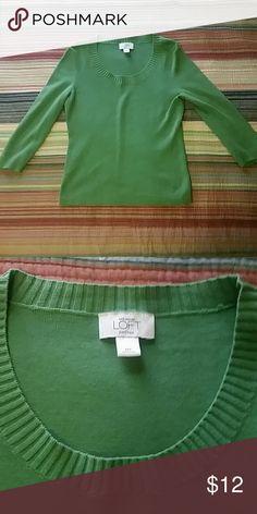 3/4 sleeve sweater Avacado green sweater 3/4 sleeve sweater with a scoop neck. GUC. LOFT Sweaters Crew & Scoop Necks