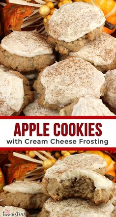 Apple Cookies and Cream Cheese Frosting Apple Cookies with Cream Cheese Frosting are the perfect Fall Cookies and a wonderful choice for a Christmas Cookie Exchange. This cookie tastes just like Apple Chocolate Chip Cookies, Apple Cookies, Fall Cookies, Yummy Cookies, Apple Dessert Recipes, Delicious Cookie Recipes, Cookie Desserts, Apple Recipes, Recipes For Apples