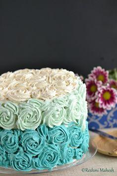 White velvet Cake with Whipped Vanilla blue Ombre frosting