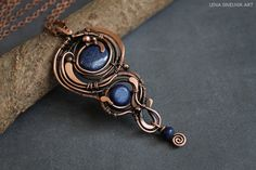 Lapis lazuli necklace wirewrap pendant wire by LenaSinelnikArt