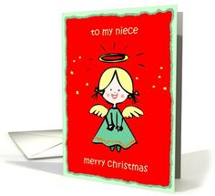 to my niece angel red green cute card