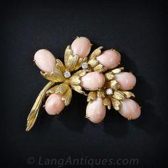 Angel Skin Coral and Diamond Brooch