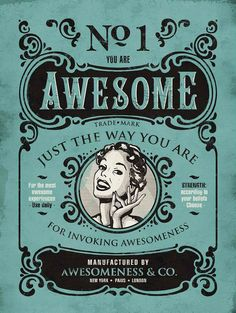 'Awesome' Vintage Canvas Wall Art | This would be fairly easy to DIY with free fonts and a pic of the awesome person in mind!
