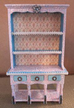Dollhouse Miniature, Furniture, OOAK, Display, Hutch, Shabby Chic, 12th Scale.