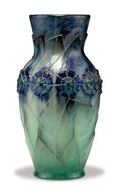 """Argy-Rousseau, """"Feuillage Moderne et aux Fleurs"""" Pate de Verre Vase"""