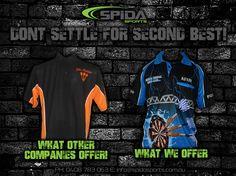 Have your own design? Order customised Darts Shirts through us http://www.spidasports.com.au/darts-shirts/