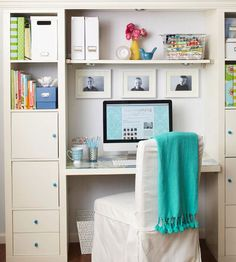 inexpensive bookcases + shelving to create a functional and stylish workstation