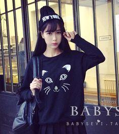 CUTE CAT SWEATER-BLACK Price : RM25.50 #yoloveitmy #yoloveitmalaysia #cute #cat #sweater #under50 #longsleeve #black #lovely #sweet