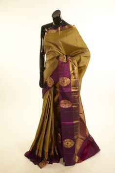 Kancheepuram, Kanjipuram- silk henna olive green saree with blouse