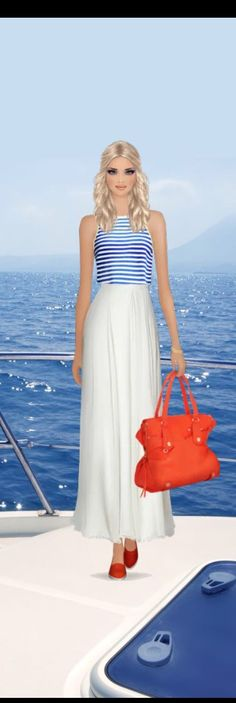 Top Look for the Cruise to Catalina Island event in #covetfashion styled by PolishedandPretty. Wearing a #HalstonHeritage flowy maxi skirt and Rachel Zoe shoes with a Botkier satchel.