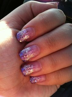 Gel nail extension with purple & gold glitter gradation by Yen | Yelp