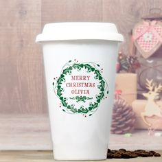 Christmas Wreath Personalised Ceramic Travel Mug
