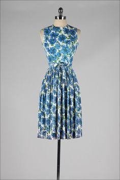vintage 1960s dress . blue floral . accordion by millstreetvintage