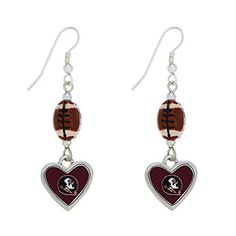 Florida State Seminoles 2 Silver Tone Earrings Featuring a Football  Florida State Heart Shaped Logo  Price : $11.99 http://www.janddjewelryandmore.com/Florida-Seminoles-Earrings-Featuring-Football/dp/B00LHEYXD8
