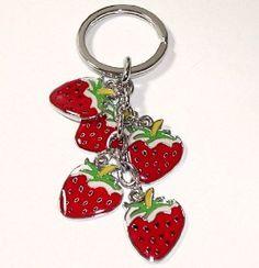 Strawberry Charm Keychain Key Chain Ring