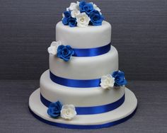 Pix For > Royal Blue And White Wedding Cakes