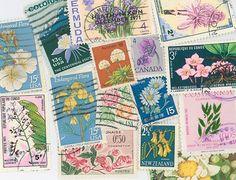 World flowers postage stamps scrapbooking by gracealleytreasures, $1.95