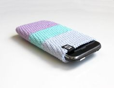 crochet iPhone case pastel // iPhone 5, 4, 3GS sleeve - lavender, mint, blue / crochet cell phone cozy, case, sleeve, cover - smartphone bag