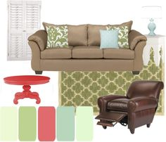 """Green Living Room"" by sallyspins on Polyvore dont like the dark brown chair but loves the colors. Next time we do the living room"