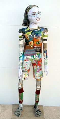 Michelle Reader - recycled sculpture from household and industrial waste.