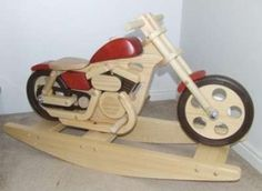 Wooden Motorcycle Rockers: Retro Rocking Toy for Badass Baby Bikers