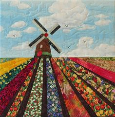 Art quilt, tulip fields with windmill, QuiltshopAndrea Fabric Painting, Fabric Art, Windmill Art, Landscape Art Quilts, Landscapes, Farm Quilt, Japanese Quilts, Fabric Postcards, Quilted Ornaments