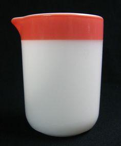 Pyrex Glass Vintage Opalware Pink Stripe Creamer, Corning Man Blowing Horn sig. #PyrexFlameware