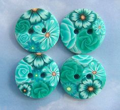 Turquoise buttons by polymerclaycreations, via Flickr