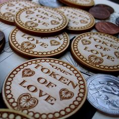 Token of Love- Set of 36, 1.5 inch 38.1mm Birch Token, Laser Engraved with 4 Messages of Love. Custom and volume orders accepted., $34.20