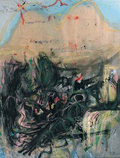 """Rita Ackermann. Morphing Morphine, 2010. Oil, enamel, spray paint, oil stick, glass, rabbit skin glue, moulding paste on canvas, 269.2 x 210.8 cm / 106 x 83""."""