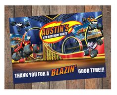 Blaze and the Monster Machines Birthday Thank You