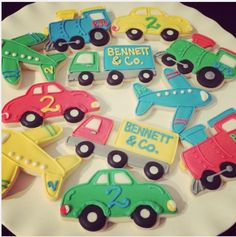 "SugarStripes on Instagram: ""Planes, Trains, and Automobiles...Happy 2nd Birthday Bennett! #vroom #transportationcookies"""