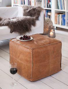 Puff Lidingö skinn brun - Moderna