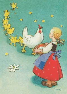MARTTA WENDELIN - Kanaperheen ruokinta Vintage Children's Books, Vintage Postcards, Vintage Art, Childrens Christmas, Christmas Art, Decopage, Chicken Art, Drawing Practice, Children's Book Illustration