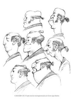 Samurai Heads ✤ || CHARACTER DESIGN REFERENCES | キャラクターデザイン • Find more at https://www.facebook.com/CharacterDesignReferences if you're looking for: #lineart #art #character #design #illustration #expressions #best #animation #drawing #archive #library #reference #anatomy #traditional #sketch #artist #pose #settei #gestures #how #to #tutorial #comics #conceptart #modelsheet #cartoon #profile || ✤