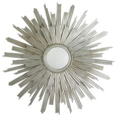 Buy the Arteriors 3163 Silver Leaf Direct. Shop for the Arteriors 3163 Silver Leaf Galaxy Inch Circular Iron Framed Mirror and save. Starburst Wall Decor, Starburst Mirror, Mirrors For Sale, Luxury Home Decor, Decor Interior Design, Eclectic Design, Just In Case, Peacock, Decorating Rooms
