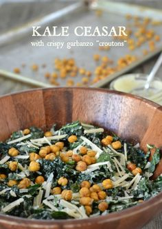 Caesar Salad with Kale and Crispy Garbanzo Croutons, www.mountainmamacooks.com