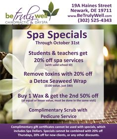 Check out our new spa specials! Students and teachers get off spa services! Also, buy one wax and get the half off. See flyer for more spa deals. Going on now through October Spa Packages, Massage Packages, Spa Promo, Message Therapy, Spa Specials, Spa Menu, Essential Oils For Massage, Massage Business, Beauty Salon Decor