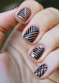1. Multicolor Scotch Tape Nails (Source) 2. Mod Metallic Nails (Can't find original source! Let me know if it's yours!) 3. Striped nails (Source) 4. Neon Nails with Chevron Stripe (Sour…