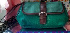 Elizabeth Arden make up bag; faux snakeskin with faux brown leathe trim