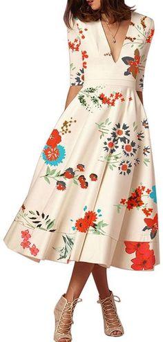 67aa8d821324c Women Daily V Neck Half Sleeve Basic Paneled Floral Printed Elegant Plus  Size Dress