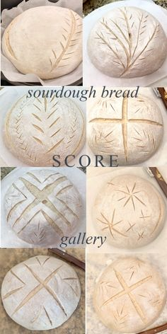 Scoring Sourdough Bread Ideas - Scoring sourdough bread is easier than it looks! Visit my gallery to see the scores and the baked up loaves of sourdough! Also Sourdough School, Video Tutorials, Beginner Loaf Recipe and more! Sourdough Bread Starter, Sourdough Recipes, Sourdough Artisan Bread Recipe, Yeast Bread, Artisan Bread Recipes, Loaf Recipes, Cornbread Recipes, Jiffy Cornbread, Bread Art