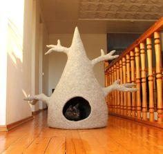 Katze Haus - Katze - Katze Bett - Baum wolle Katze Cave - Licht grau Gefilzte wolle Katze Bett - kundenspezifisch konfektioniert