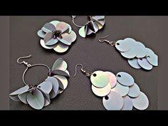 Earring Tutorial, Bead Art, Sequins, Drop Earrings, Beads, Diy, Jewelry, Youtube, Stud Earrings