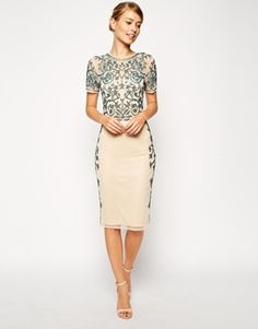 I think the embroidery on this is more along the lines of what work with my dress. It seems a bit vintage...though totally not this colour so really just a reference for embellishment.   ASOS Baroque Embellished Midi Shift Dress