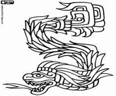 Free Kukulkan, the plumed serpent. The Mayan God of the Sky coloring and printable page.